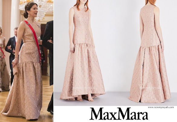Crown Princess Mary wore MAX MARA ELEGANTE Gabriel jacquard gown