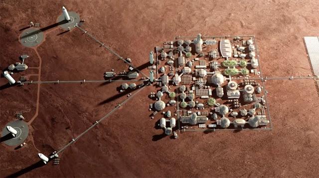 Ilustração artística da futura colônia marciana - SpaceX