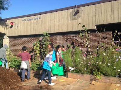 Children working in the garden at Bruce Vento Elementary School in St. Paul Minnesota