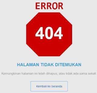 contoh tampilan error 404 untuk halaman tidak ditemukan