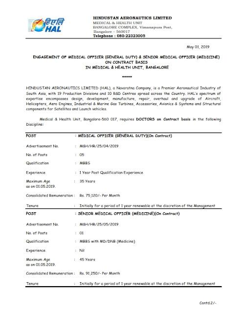 Medical Officer Posts in HAL, Bangalore(6 posts)