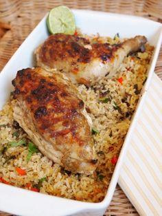 الدجاج مع الأرز بالفرن