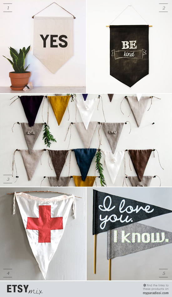 Handmade and vintage flags, banners and signs via Etsy