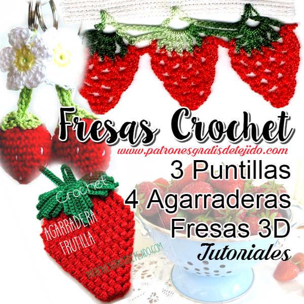 tutoriales de fresas tejidas agarraderas, puntillas