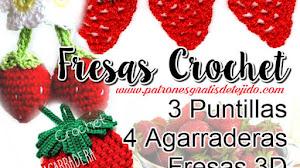 Puntillas y Agarraderas diseño de Fresas Crochet / Tutoriales