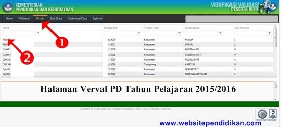 Tampilan Halaman Web Verval PD Tahun Pelajaran 2015/2016