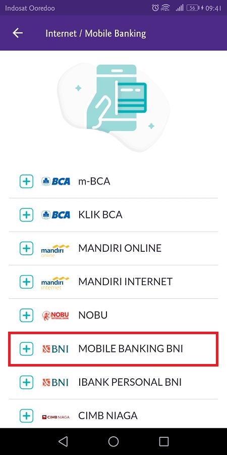 tersedia puluhan pilihan bank yang didukung oleh ovo
