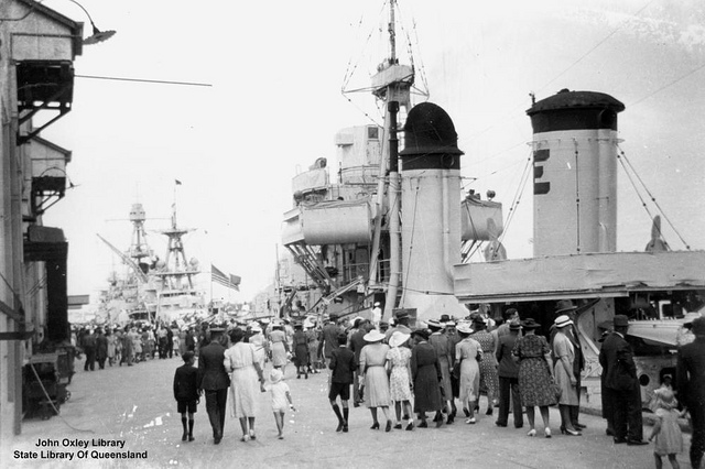 25 March 1941 worldwartwo.filminspector.com Brisbane US cruisers goodwill visit