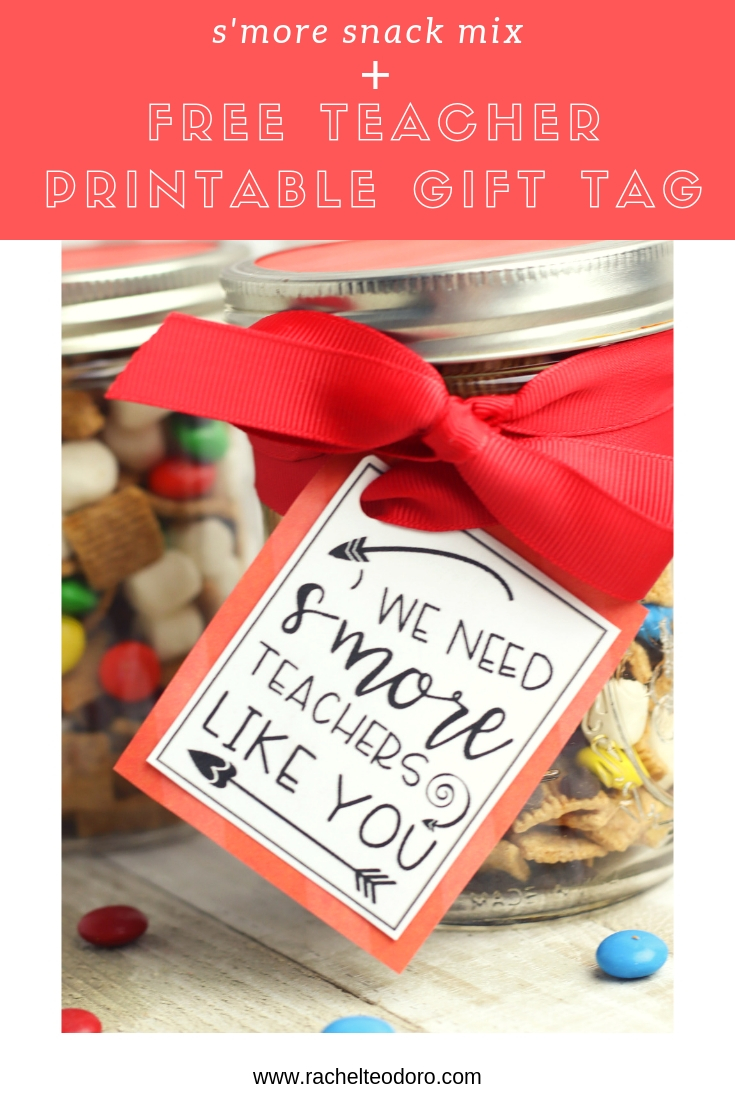 image about Free Printable Teacher Gift Tags named SMores Snack Combination Trainer Reward with Free of charge Printable Reward Tag
