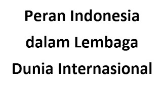 Peran Indonesia dalam Lembaga Dunia Internasional