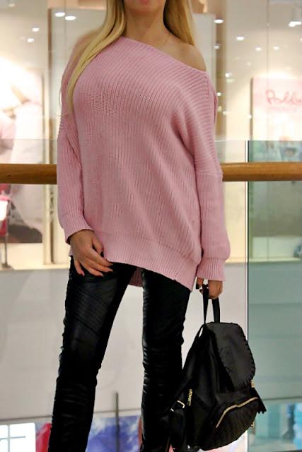 Shopping in DRESSLILY:  Трикотажный розовый свитер (oversized) и ботинки-трансформеры / отзывы