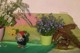 Jahreszeitentisch im Mai, Waldorfkindergarten, Wollzwerg, Waldorfzwerg, Mit Kindern die Jahreszeiten erleben, Vergissmeinnicht, Holzdrehbild Frühling