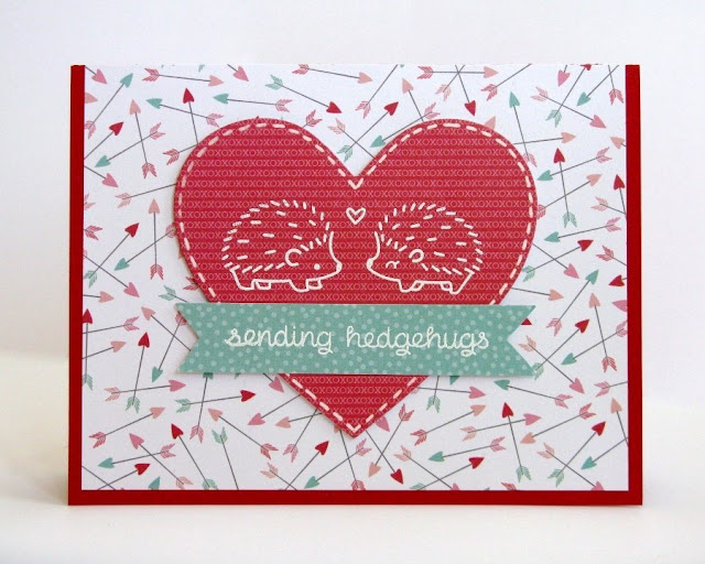 Lawn Fawn & Pebbles Sending Hedgehugs Valentine's Day card by Mendi Yoshikawa