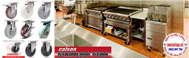 Bánh xe đẩy càng xoay thép không rỉ inox 304 Nylon Colson | 64001