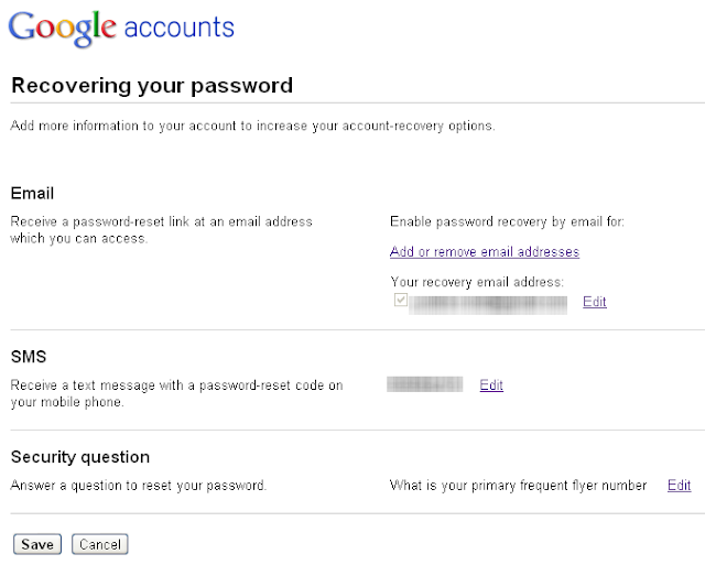 Change Your Gmail Password Recovery Options