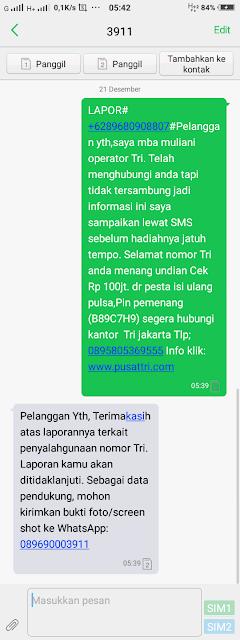 Cara Melaporkan SMS Penipuan Kartu Three
