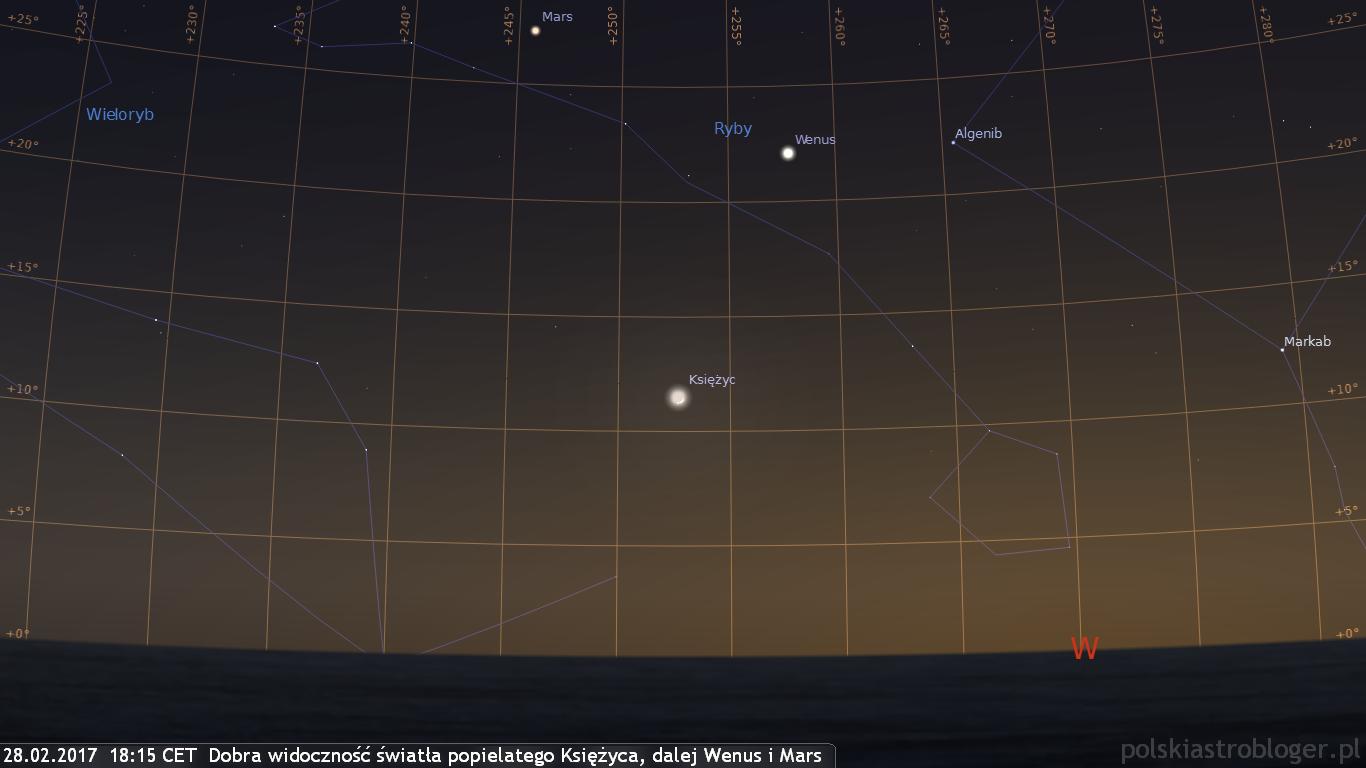 28.02.2017  18:15 CET  Dobra widoczność światła popielatego Księżyca, dalej Wenus i Mars