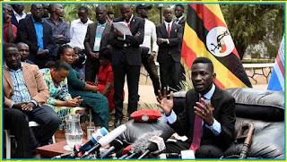 Robert Kyagulanyi, better known as Bobi Wine, at a press conference at his home in Kampala on September 24, 2018