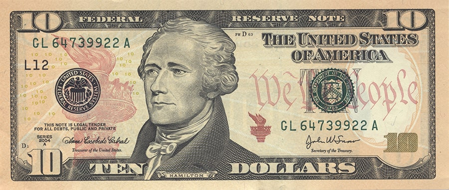 Купюры долларов США номиналом 10$