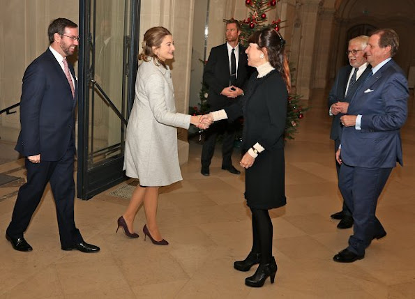 Princess Stephanie wore Prada Suede pumps, Stephanie wore Prada Coat, Prada clutch bag, Dior pearl earrings