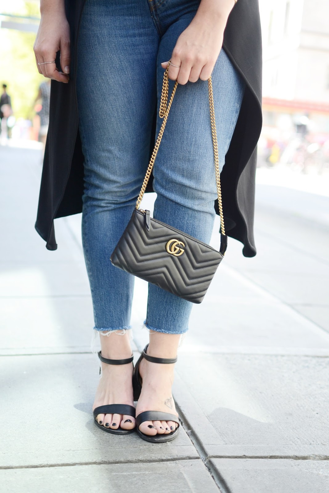 Le Chateau waterfall vest and sandals quay australia gucci marmont wallet on a chain vancouver blogger