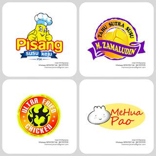 desain logo pisang susu keju, desain logo fried chicken, desain logo kuliner