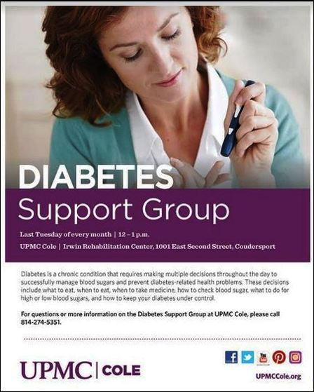 Last Tuesday--Diabetes Support Group, UPMC Cole