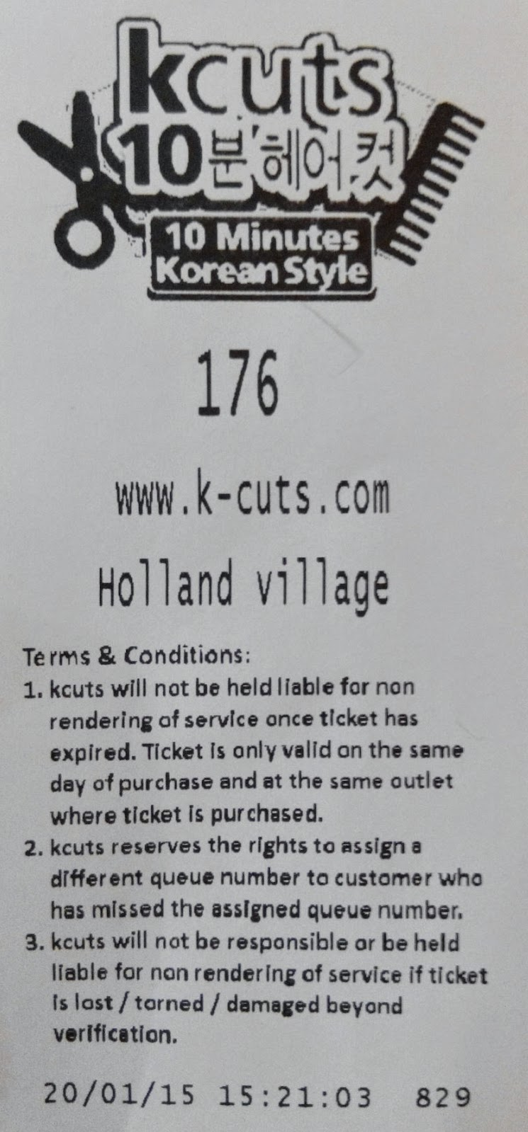 kcuts barbershop docket / receipt, Holland Village outlet, Singapore