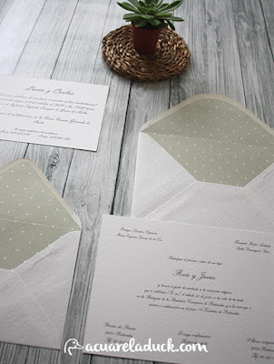 invitación boda plumeti verde