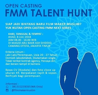 open casting audisi film islami fmm talent hunt 2018