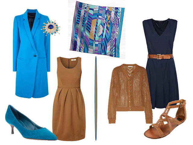 two outfits using Hermes Astrologie Nouvelle in turquoise blue and purple