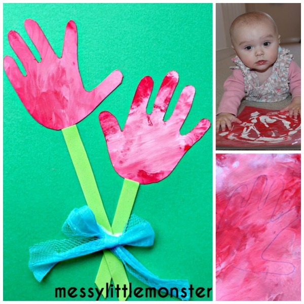 Flower handprint craft messy little monster for Craft paint safe for babies
