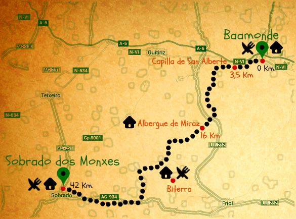 mapa camino del norte