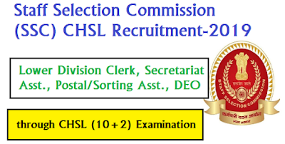 SSC Lower Division Clerk, Secretariat Asst., PostalSorting Asst., DEO through CHSL (10+2) Examination