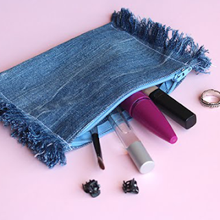 diy upcycled denim pouch