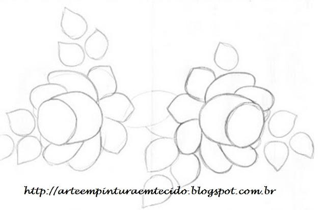 pintura em tecido risco ramo de rosas