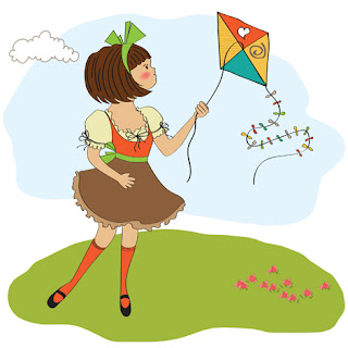 Clipart Image of a Little Girl Flying a Kite on a Summer's Day