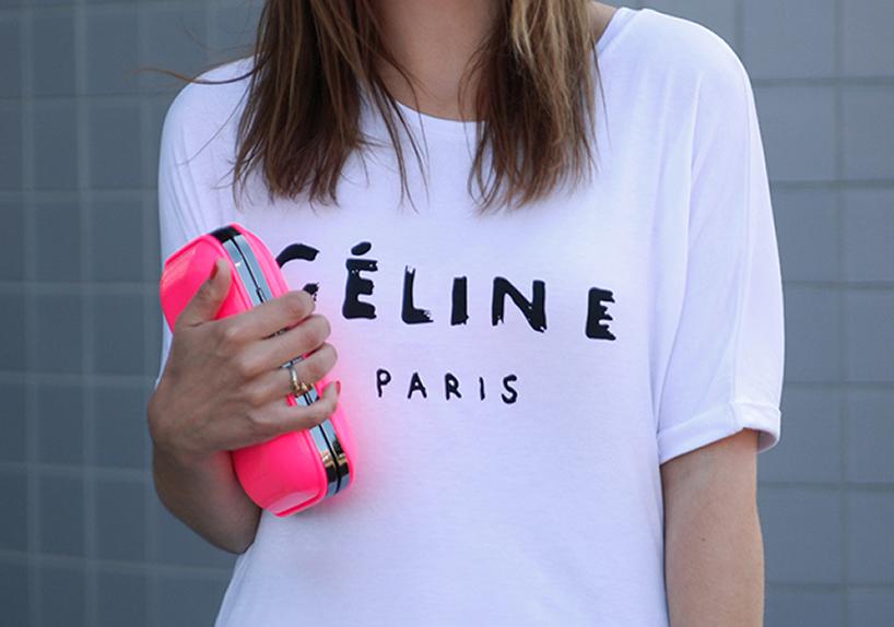 celine white t shirt
