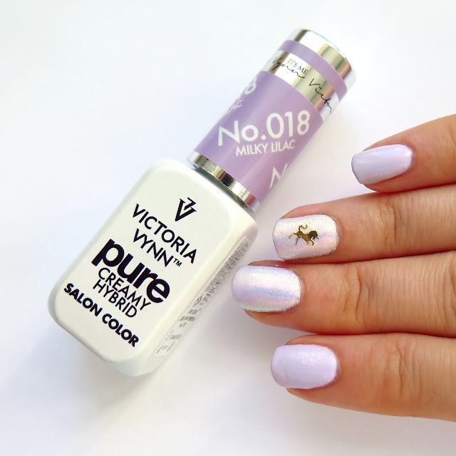 zdobienie paznokci pure creamy hybrid milky lilac jednorożec efekt syrenki eleganckie dziewczęce