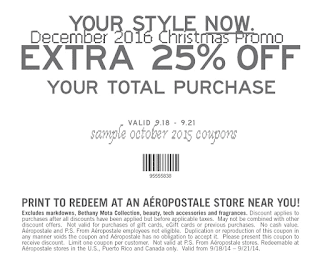 Aeropostale coupons for december 2016