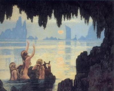 Jean-Francis Auburtin : Sirènes peintre breton 1920