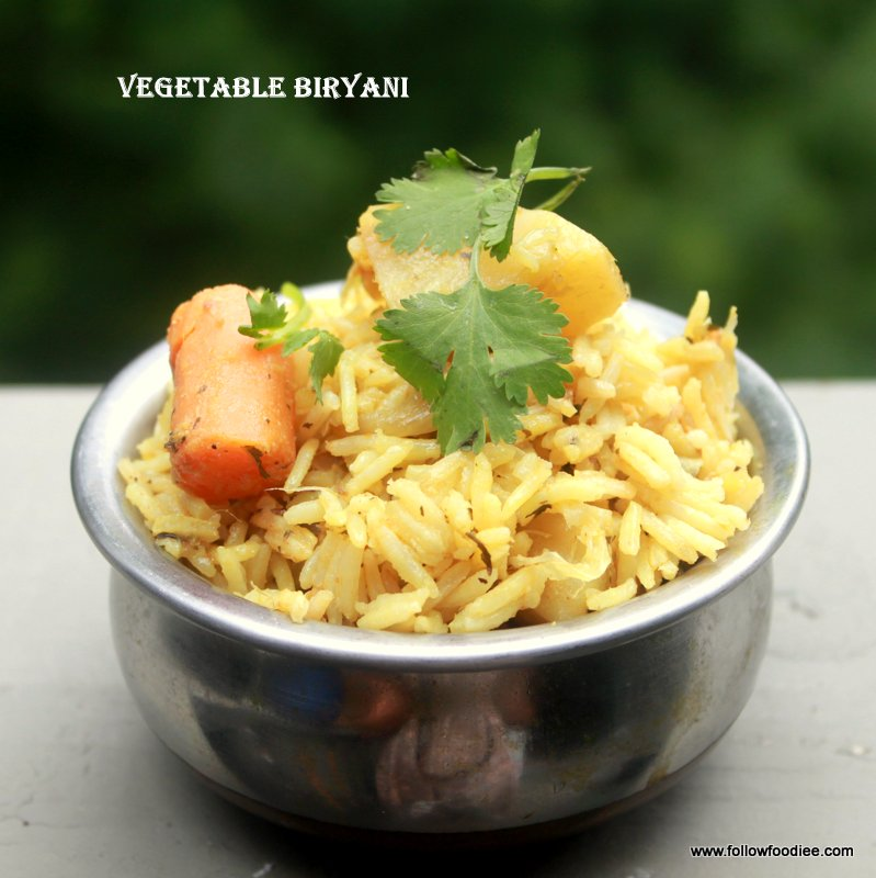 Veg biryani made using pressure Cooker