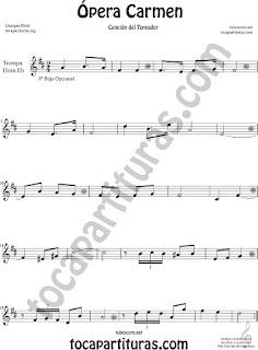 Trompa y Corno Francés Partitura de Ópera Carmen de Georges Bizet  en Mi bemol Sheet Music for French Horn Music Scores