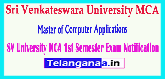 SVU Sri Venkateswara University MCA 1st Sem Time Table Notification 2018