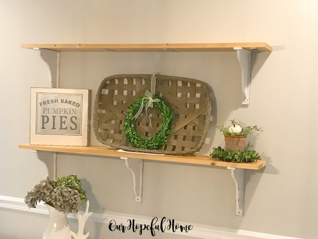 farmhouse shelves fall decor tobacco basket pumpkins boxwood wreaths buffet vintage scale corbels