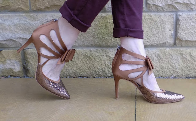 Boden bronze glitter bow shoes