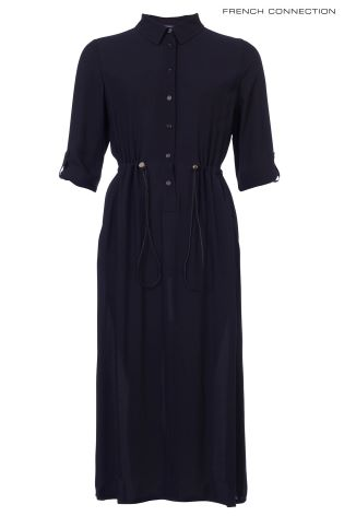 french connection navy ¾ sleeve dress