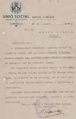Solicitud de la Unió Social de Cornellà a Ribera