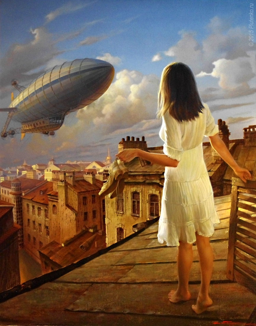 11-Waiting-for-the-Dirigible-Stanislav-Plutenko-Surrealism-and-Futurism-in-Oil-Paintings-www-designstack-co