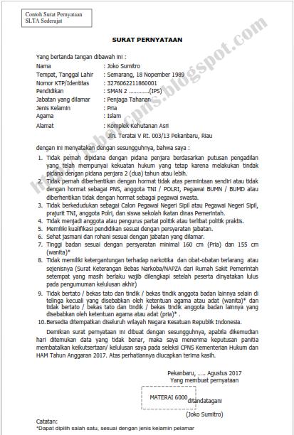 Contoh Format Surat Lamaran dan Pernyataan CPNS Kemenkumhan 2017/2018